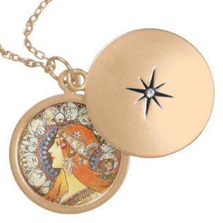 Vintage de Nouveau del arte del zodiaco del Collar Redondo