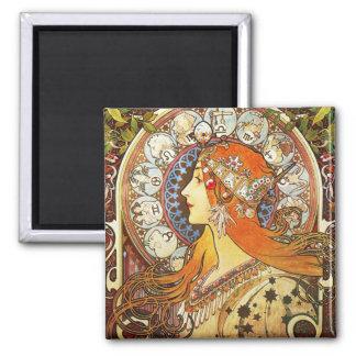 Vintage de Nouveau del arte del zodiaco del Imán Cuadrado