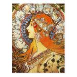 Vintage de Nouveau del arte del zodiaco del penach Postales