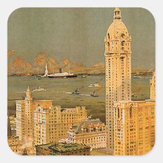 Vintage de Nueva York Pegatina Cuadrada