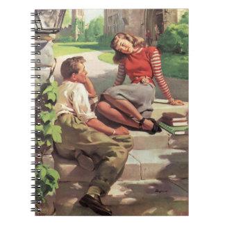 Vintage de nuevo a la escuela, estudiantes del libro de apuntes