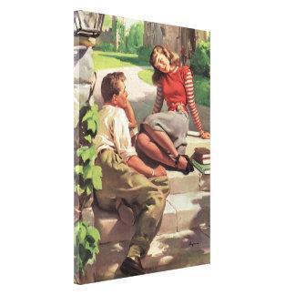 Vintage de nuevo a la escuela, estudiantes del impresiones de lienzo