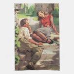 Vintage de nuevo a la escuela, estudiantes del toallas