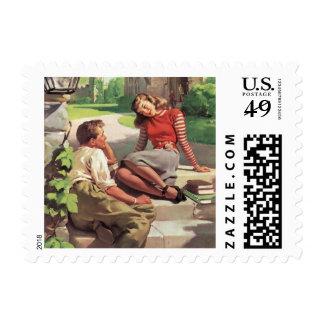 Vintage de nuevo a la escuela, estudiantes del sello postal