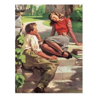 Vintage de nuevo a la escuela, estudiantes del tarjeta postal