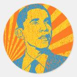 Vintage de Obama Pegatina Redonda