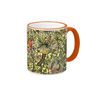 Vintage de oro William Morris del lirio Taza De Dos Colores