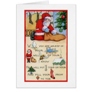 Vintage de Papá Noel, poema del jeroglífico, navid Tarjeton
