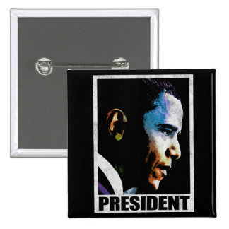 Vintage de presidente Barack Obama Pin Cuadrado