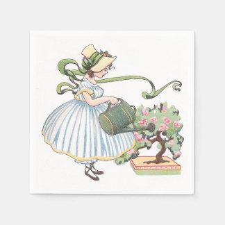 Vintage de riego de los bonsais del chica servilleta desechable
