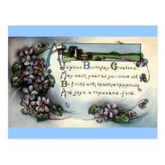 Vintage de saludo 1918 de Repro del cumpleaños fel Tarjetas Postales