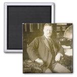 Vintage de Teddy Roosevelt de los alces de Bull Imán Cuadrado