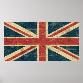 Vintage de Union Jack apenado Póster