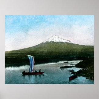 Vintage de Yamanaka del lago mount Fuji Japón Impresiones