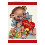 Vintage Dear Baby's 1st Valentine's Day Teddy Bear Greeting Card