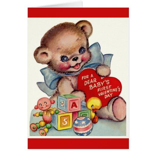 Vintage Dear Baby's 1st Valentine's Day Teddy Bear Greeting Cards