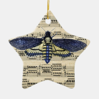 Vintage death moth music sheet mixed media Double-Sided star ceramic christmas ornament