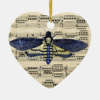 Vintage death moth music sheet mixed media Double-Sided heart ceramic christmas ornament