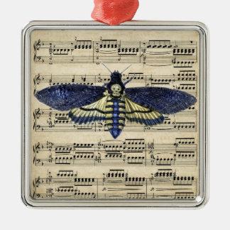 Vintage death moth music sheet mixed media square metal christmas ornament
