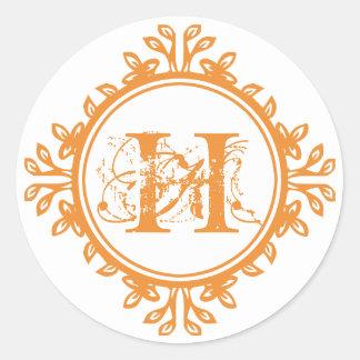 Vintage decay orange monogram label wedding favor