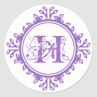 Vintage decay purple monogram label wedding favor