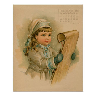 Vintage December 1891 beautiful children drawing Poster