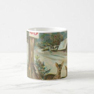 Vintage December 25th Deer Coffee Mug