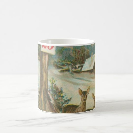 Vintage December 25th Deer Coffee Mug