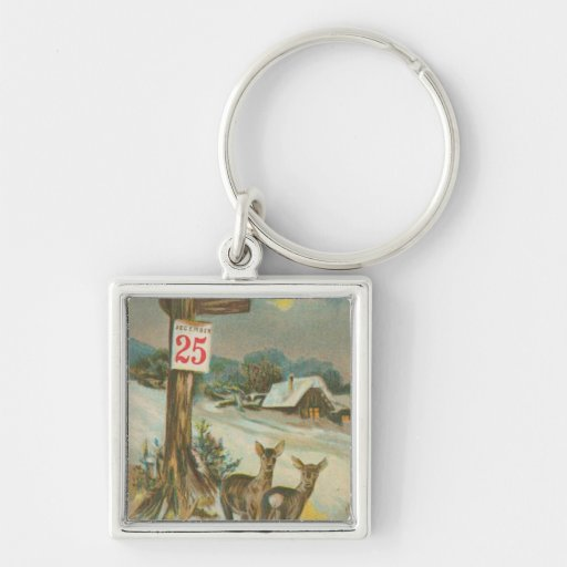 Vintage December 25th Deer Silver-Colored Square Keychain