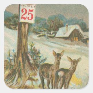 Vintage December 25th Deer Square Sticker