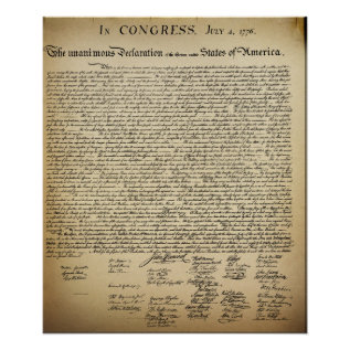 Vintage Declaration Of Independence Poster at Zazzle