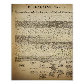 Vintage Declaration of Independence Poster