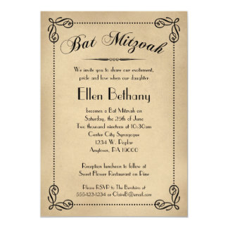 "Vintage Deco Bat Mitzvah Invitations 5"" X 7"" Invitation Card"