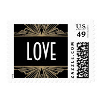 Vintage Deco Black & Gold Love Stamp