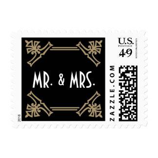 Vintage Deco Black & Gold Mr. & Mrs. Stamp