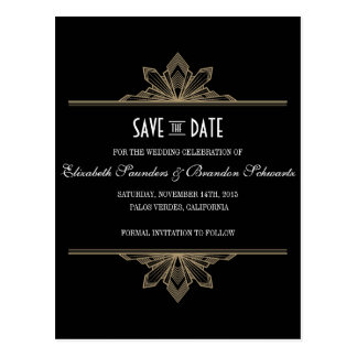 Vintage Deco Black & Gold Save the Date Postcard