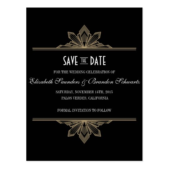 vintage deco black gold save the date postcard. Black Bedroom Furniture Sets. Home Design Ideas
