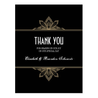Vintage Deco Black & Gold Thank You Post Card