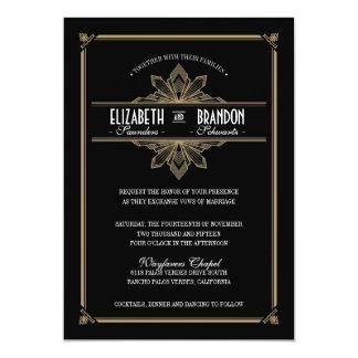 "Vintage Deco Black & Gold Wedding Invitation 5"" X 7"" Invitation Card"