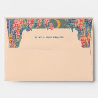 Vintage deco letterpress Christmas floral envelope