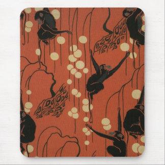 Vintage Deco Moderne Monkeys Mouse Pad