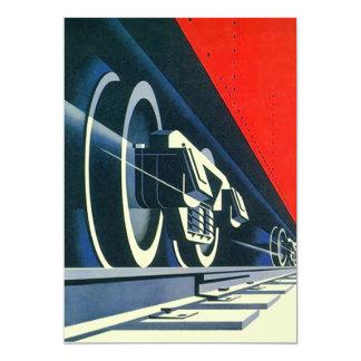 Vintage Deco Rails Retro Train Wheels Invitation