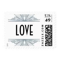 Vintage Deco Silver & Black Love Stamp