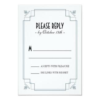 Vintage Deco Silver & Black Response 3.5x5 Paper Invitation Card
