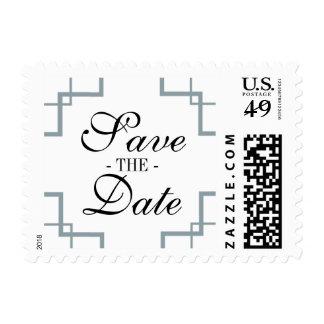 Vintage Deco Silver & Black Save the Date Stamp