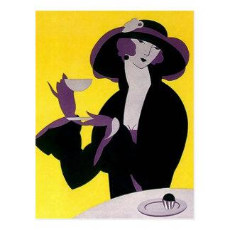 Vintage Deco Tea High Afternoon Party Postcard PC