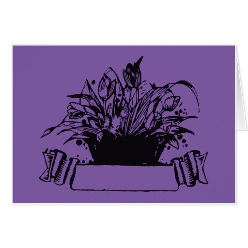 Vintage Deco Woodcut-style Flower Basket Greeting Card