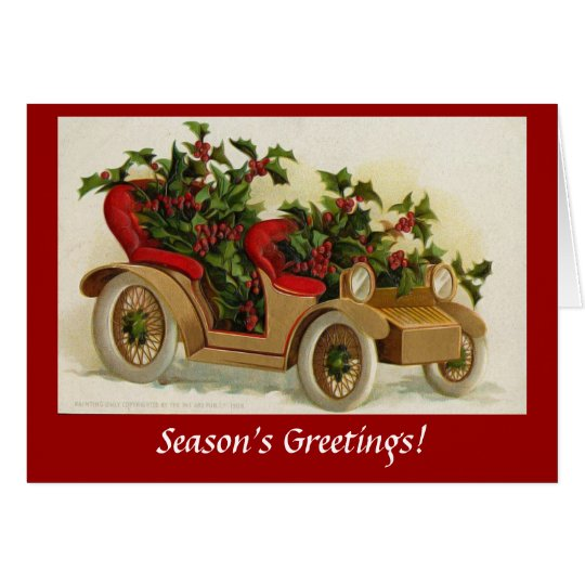 Vintage Decorated Car Automobile Holiday Christmas Card