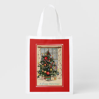 Vintage Decorated Christmas Tree Red Grocery Bag