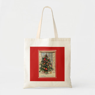 Vintage Decorated Christmas Tree Red Tote Bag